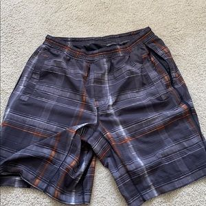 real lulu lemon plaid men's shorts